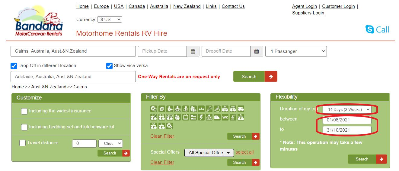 Motorhome rental in Australia - Flexibility period search