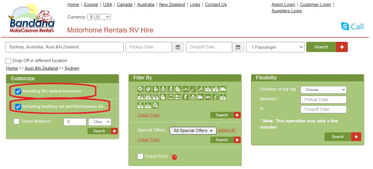 Motorhome rental in Australia - Personal customization