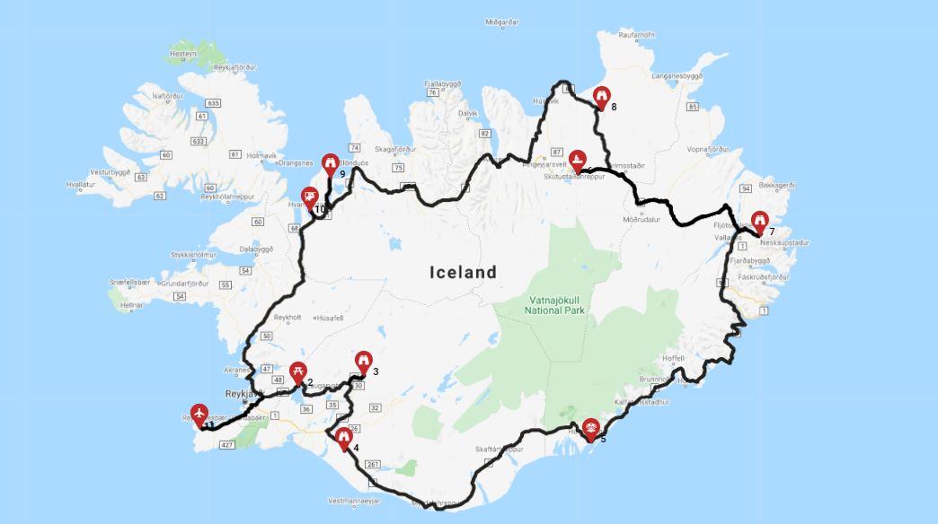 השכרת קרוואן באיסלנד - מסלול