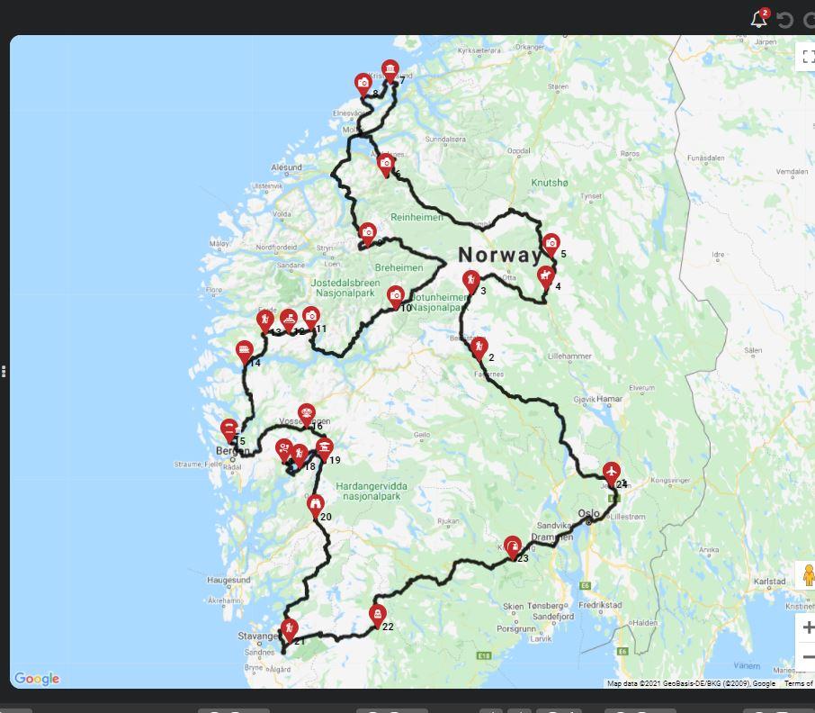 השכרת קרוואן בנורווגיה - מסלול