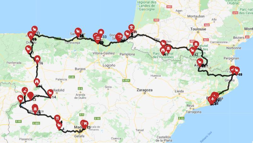 השכרת קרוואן בספרד - מסלול
